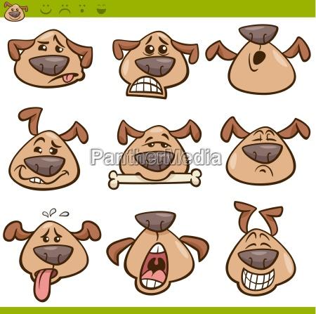 dog emoticons cartoon illustration set