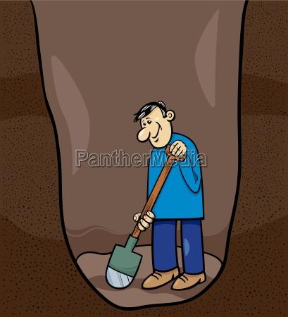 digging man cartoon illustration