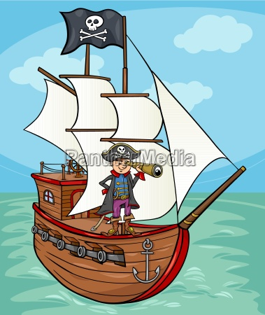pirat auf schiff cartoon abbildung
