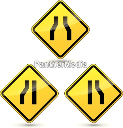 vector narrow road sign