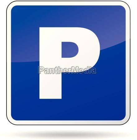 vektor, parkplatz, zeichen - 12533704