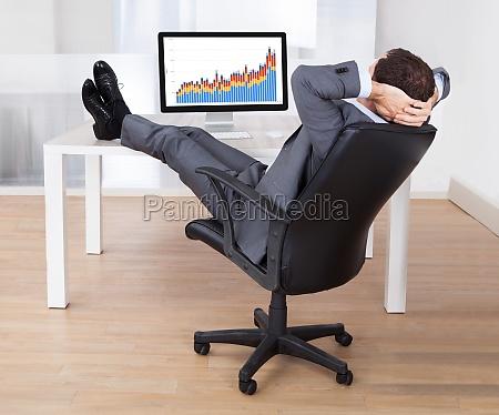 geschaeftsmann mit feetup entspannung am computer