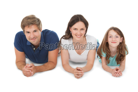family lying over white background