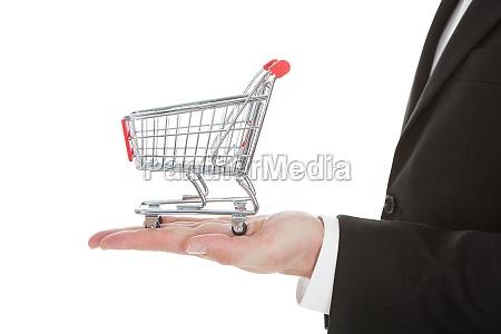 cropped image of businessman holding shopping