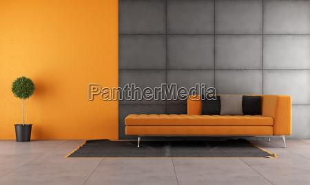 schwarz und orange wohnzimmer