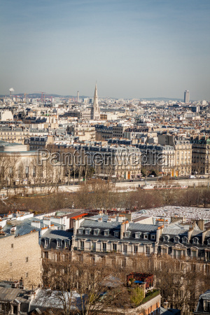 paris skyline with cityscape on the