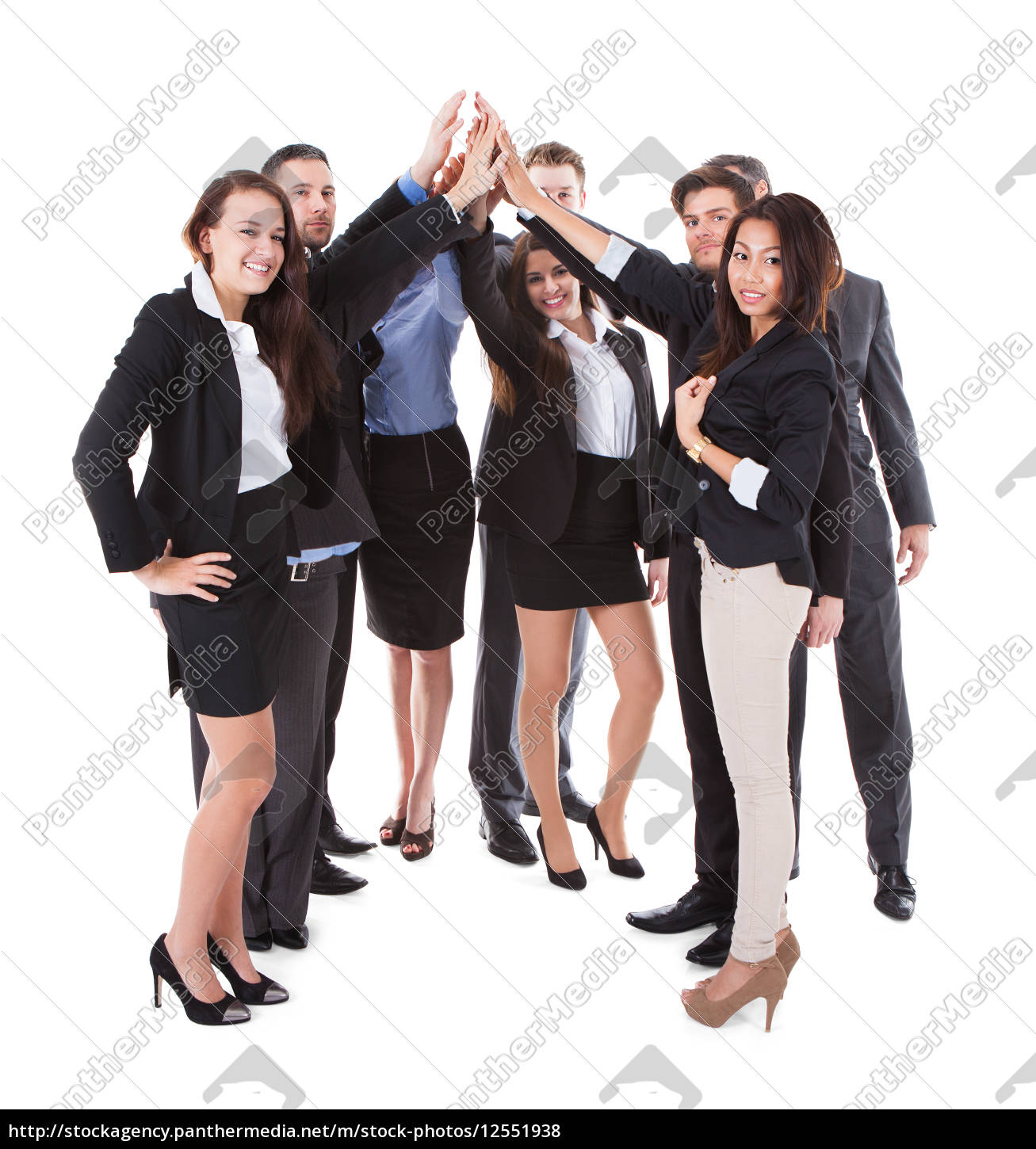 businesspeople, making, high, five, gesture - 12551938