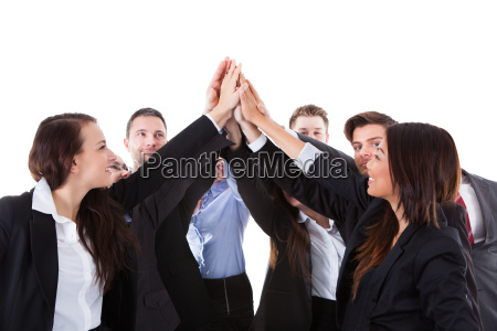 businesspeople, making, high, five, gesture - 12551944