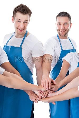 gruppe von reinigungs stapeln haende