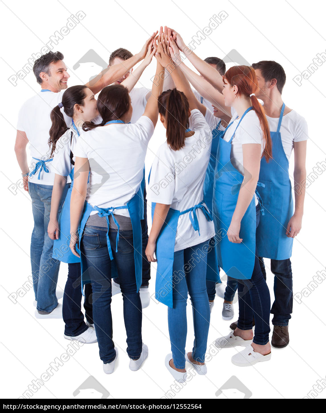 group, of, cleaners, making, high, five - 12552564