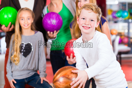 family at the bowling center