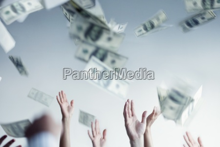 paper currency business people five people