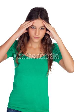 gelegenheitsmaedchen mit kopfschmerzen