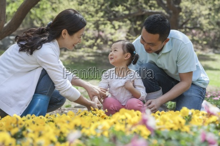 family togetherness flowers garden relaxation childhood