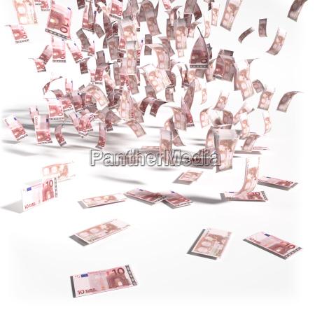 geldregen aus 10 euroscheinen