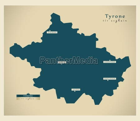 moderne landkarte tyrone uk
