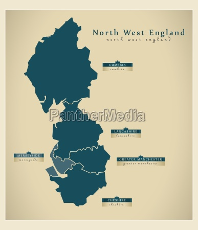 moderne landkarte north west england