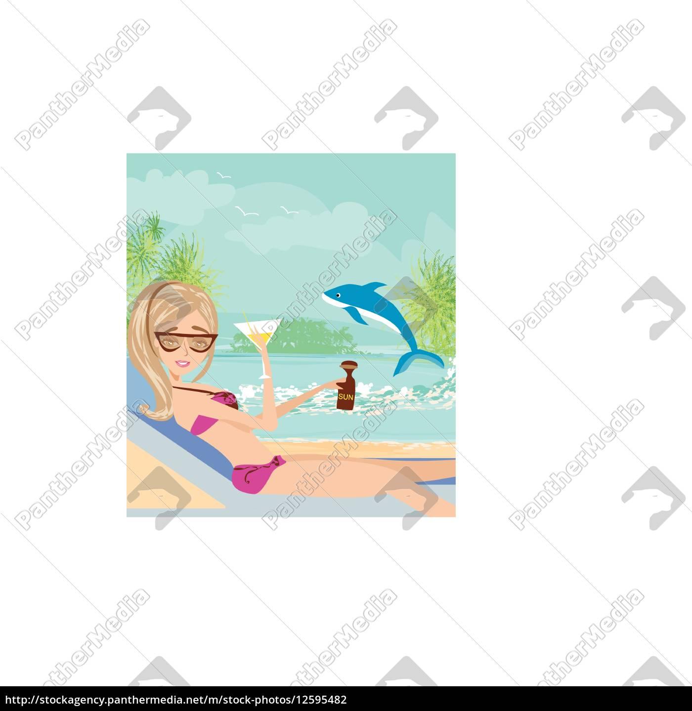 sexy, strand, mädchen, in, der, nähe - 12595482