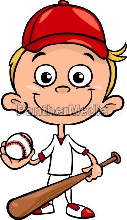 boy baseball player cartoon illustration
