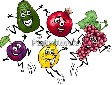 jumping fruits cartoon illustration