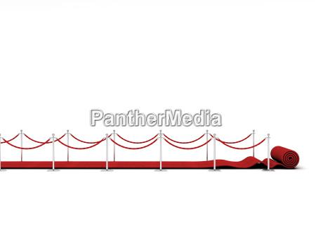 roter teppich und barriereseil auf weiss