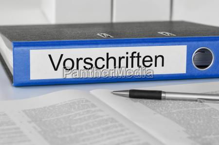 aktenordner, mit, der, beschriftung, vorschriften - 12605608