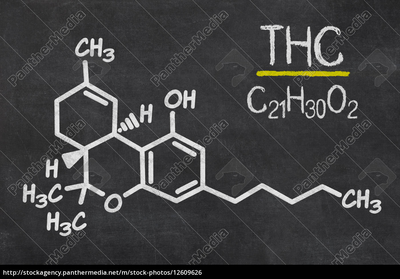 Stock Bild 12609626 Schiefertafel Mit Der Chemischen Formel Von Thc