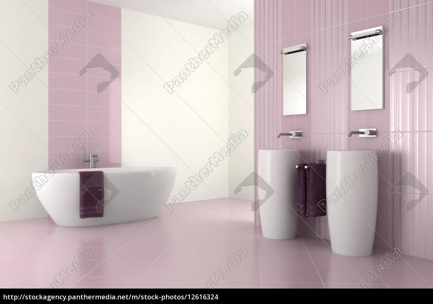 Lila Modernes Bad Mit Zwei Waschbecken Und Badewanne Lizenzfreies