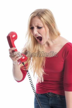 frau, am, telefon - 12624914