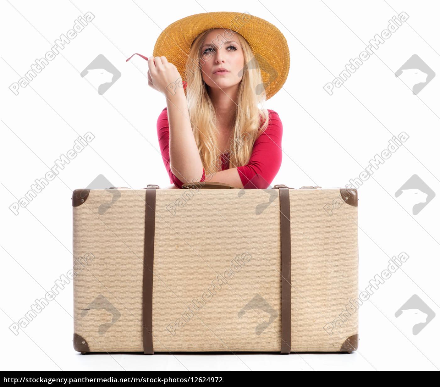 frau, mit, reisekoffer - 12624972