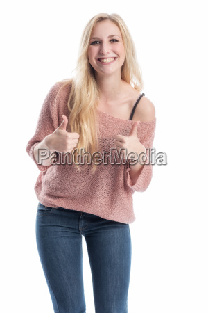 blonde woman showing thumbs up