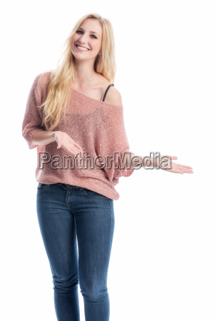 woman is holding a presentation
