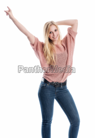woman is pointing upwards