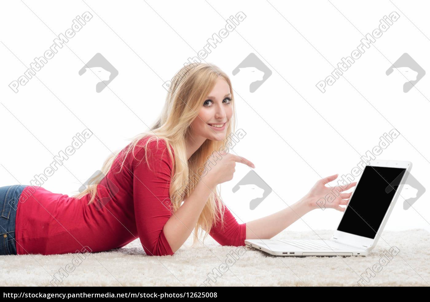 frau, am, laptop - 12625008