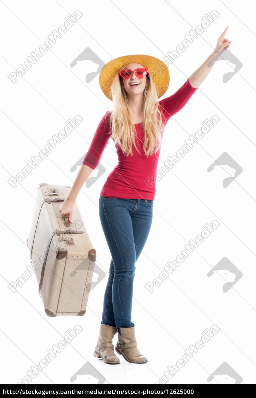 frau, mit, reisekoffer - 12625000