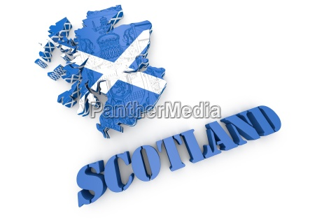 schottland karte flagge 3d illustration