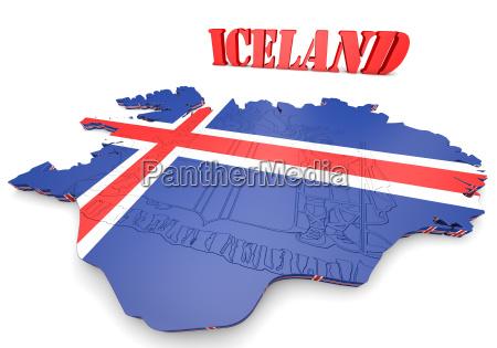 kartendarstellung islands mit flagge