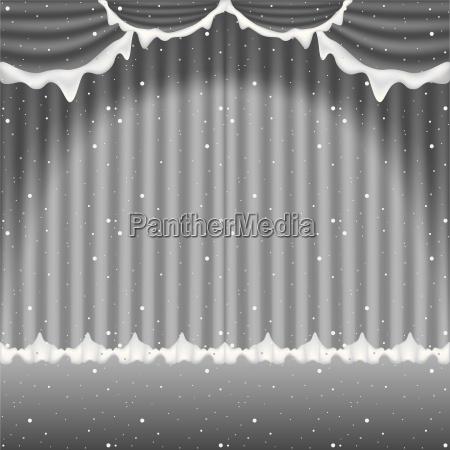 winter gardine vorhaenge gardinen vektor schnee