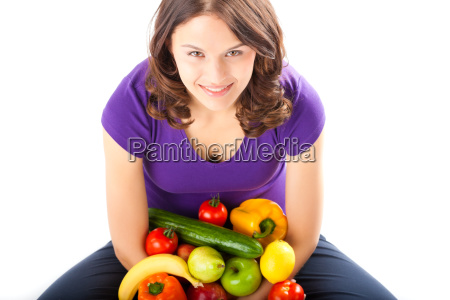 healthy eating woman with apples