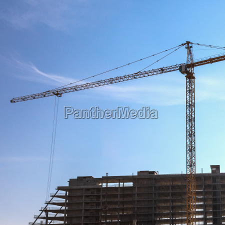building crane on construction