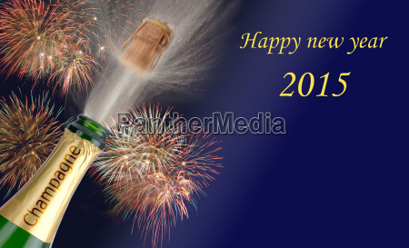 new year 2015 with champagne bottle