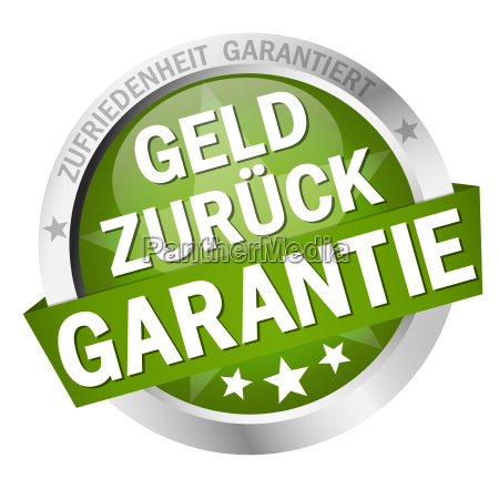 button with banner money back guarantee