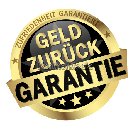 button with banner geld zurueck garantie