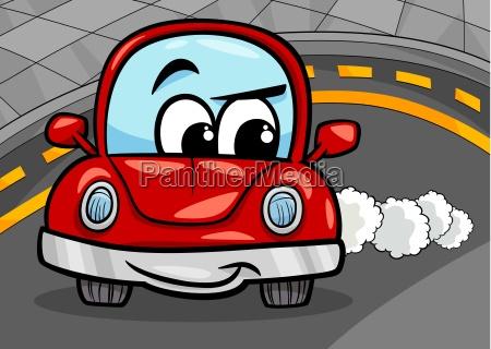 lustige retro auto cartoon illustration