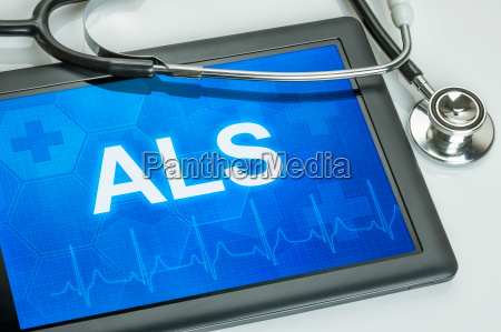 tablet diagnosed with als on display