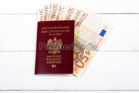 polish passport with the european currency