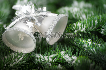 weihnachtsglocken auf tannenzweigen