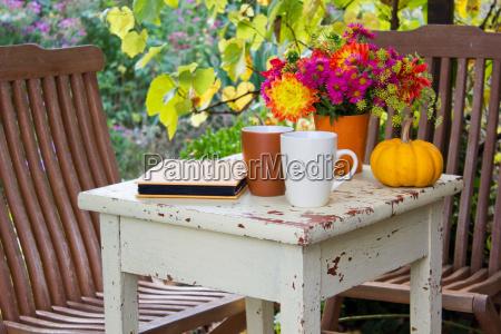 chair table garden autumn seating area