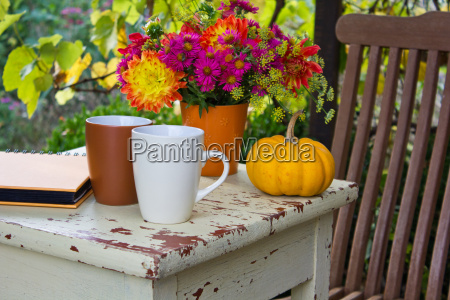 chair table garden autumn seating area