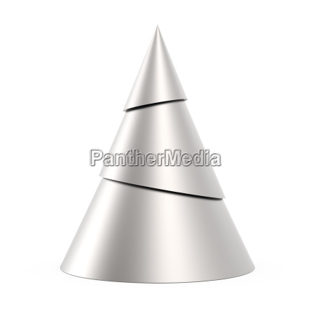 silver stylized christmas tree isolated on